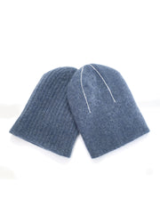 REVERSIBLE CASHMERE BEANIE  Blue Grey