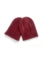 REVERSIBLE CASHMERE BEANIE  Burgundy