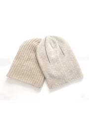 REVERSIBLE CASHMERE BEANIE  Oatmeal