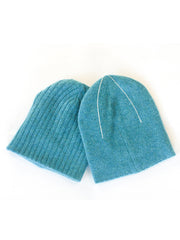 REVERSIBLE CASHMERE BEANIE  Turquoise
