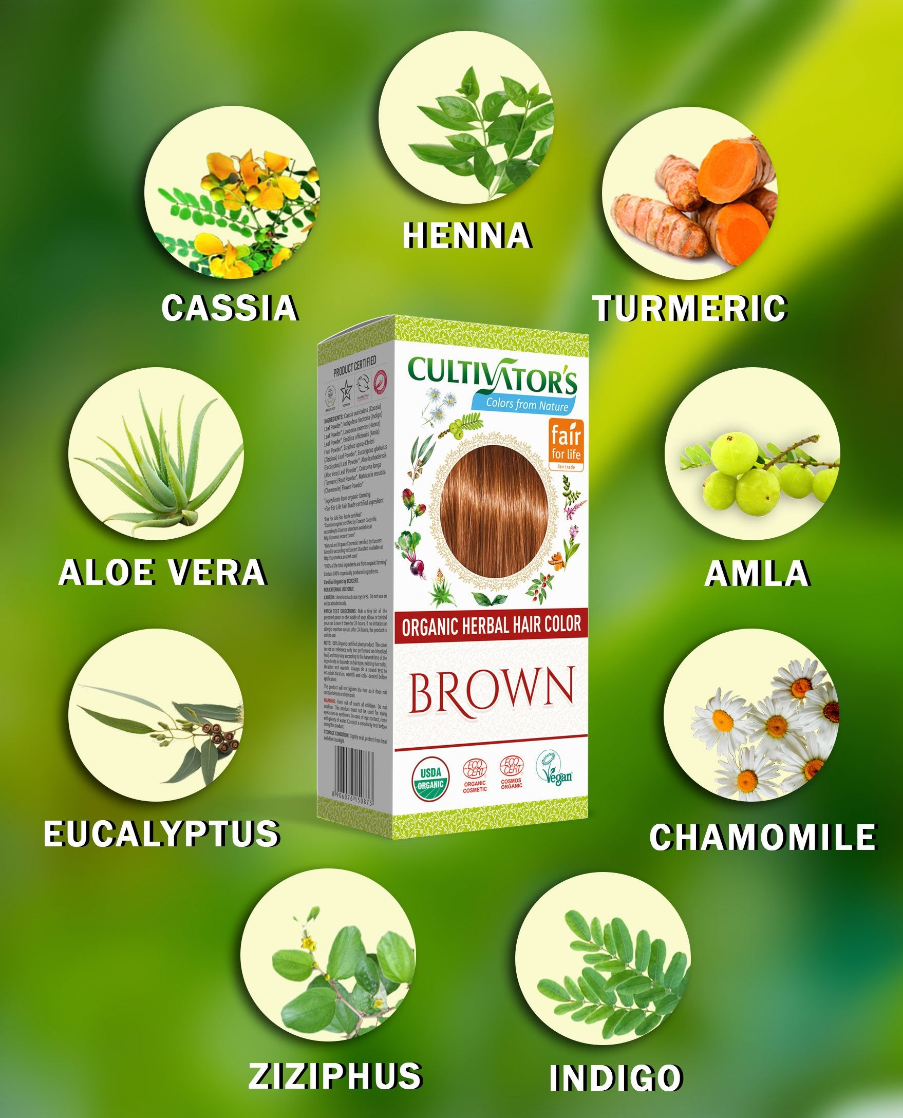 Get Certified Organic Herbal Hair Color Brown Online | Cultivators