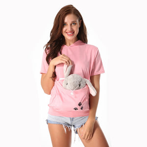 Cat Eared Hooded Pouch T-Shirt
