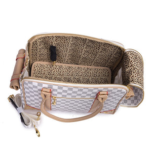Luxury White Checkered Pet Carrier