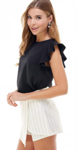 Alex Black Ruffle Blouse