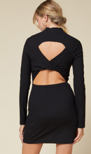 Load image into Gallery viewer, Black Ribbed Cut Out Dress