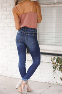 Carly Dark Distressed Denim