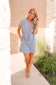Bailey Blue-Multi Short Sleeve Dress