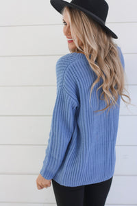 Lexi Blue V-Neck Sweater