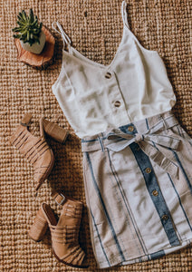 Navy Button Down Skirt