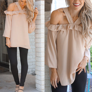 Whit Cold Shoulder Top