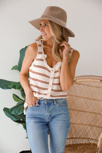 Elise Ecru Striped Tank