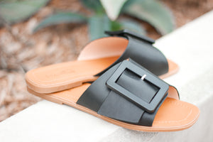 Black Buckle Slides