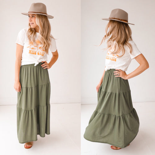 Tiered Olive Skirt