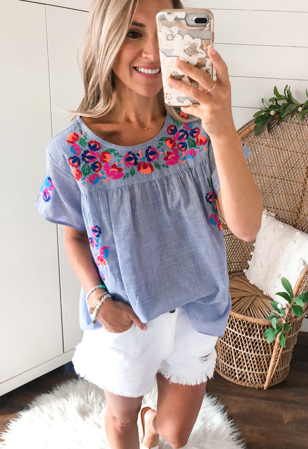 Tatum Stripe Embroidery Top