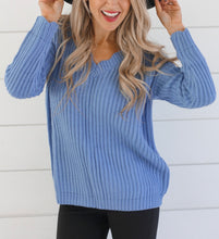 Load image into Gallery viewer, Lexi Blue V-Neck Sweater