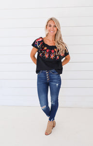 Candice Black Embroider Top