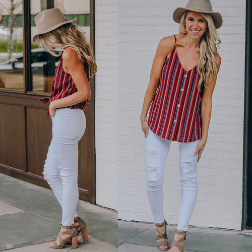 Burgundy Button Cami