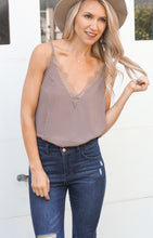Load image into Gallery viewer, Chiffon Lace Cami-Taupe