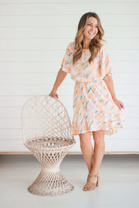 Blush Flutter Sleeve Dress
