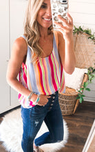 Load image into Gallery viewer, Frankie Fuschia Stripe Top