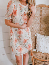 Load image into Gallery viewer, Gold Dot Floral Tie Dress