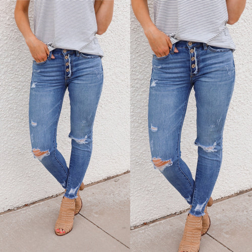 **Distressed Light Wash Skinnies