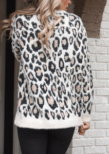 Leopard Mohair Pull Over Sweater