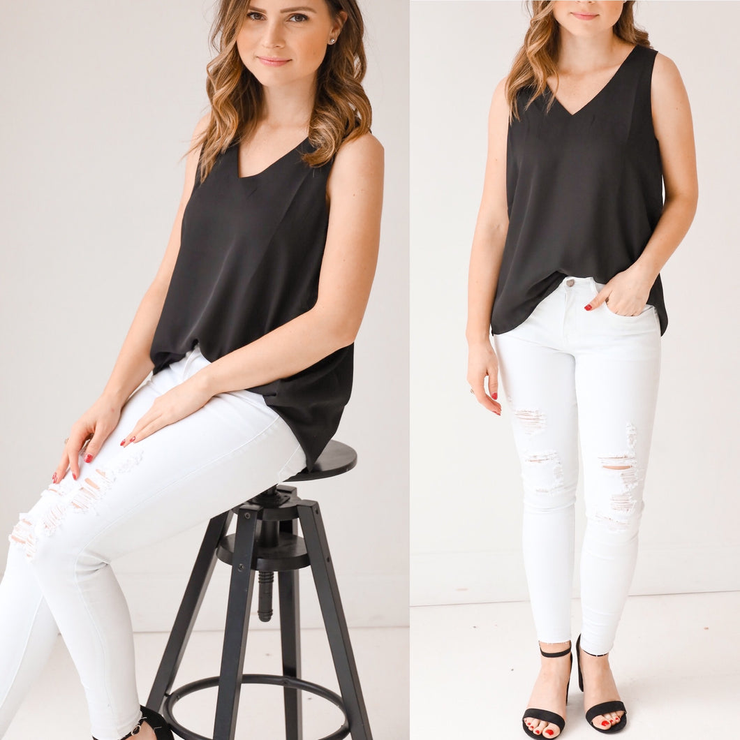 Everly Sleeveless Top-Black