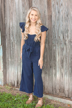 Load image into Gallery viewer, Navy Ruffle Jumpsuit