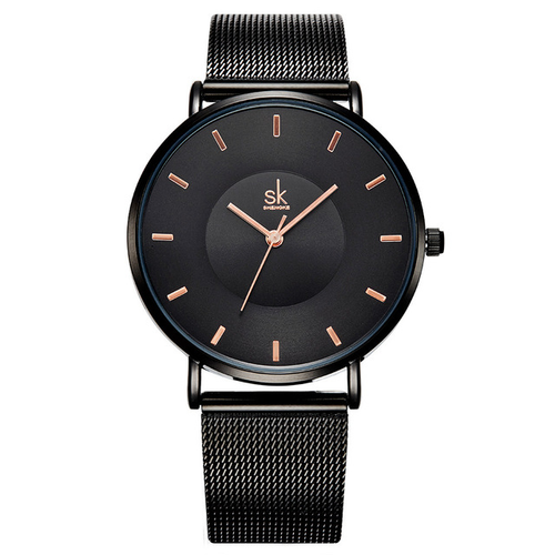 A sleek timepiece with subtle elegance paired with a complementary mesh band. It is also water-resistant up to 30 meters. Available in 3 colors.