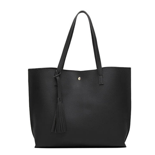 Classic tote bag with a simple snap button closure. Available in 3 colors.