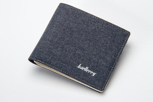 Canvas wallet with leather detail inside. Slim design alleviates discomfort when sitting. Visit AtlasAccessory.com for more fashionable wallets and accessories for less than you think!