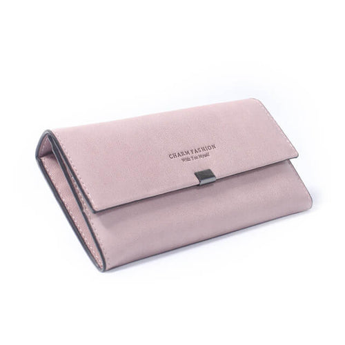Elegant long clutch wallet features multiple sections for easy organization. Available in 5 colors.