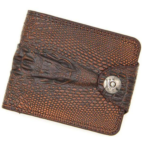 Men's high capacity small wallet featuring a crocodile print genuine leather finish. Available in 3 classic colors.