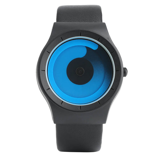 The watch of the future! Digital spirals take place of the traditional hand dials. The inner spiral tells you the hour, while the outer spiral counts the minutes. This unisex watch is available in 3 different face colors paired with 3 different band colors.