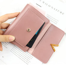 Load image into Gallery viewer, Petite women's wallet with cute metal details and matte leather accent. Choose from 6 lovely colors.