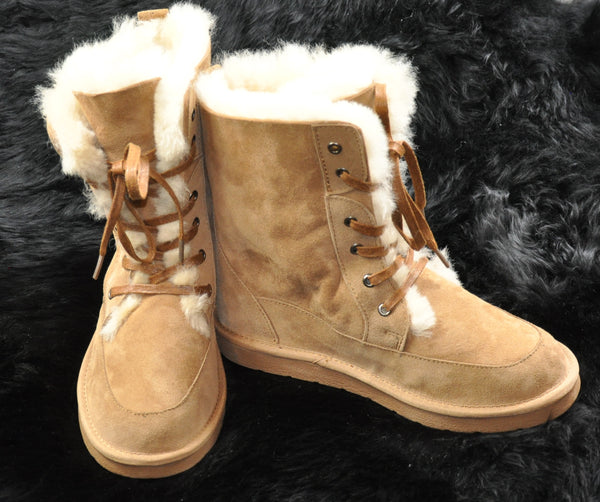 Short Lace-Up Ugg Boots - Tan