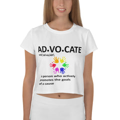 AD-VO-CATE All-Over Print Crop Tee