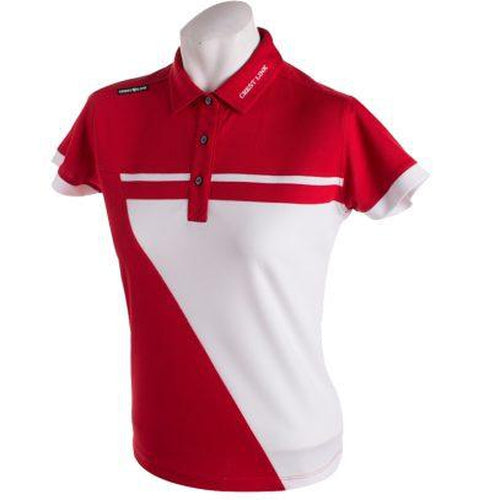 Crest Link Ladies Golf Shirt – Red/White – Large - Sports Grade