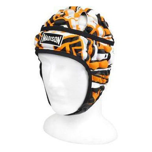 Madison Graffiti Headguard - Orange/black Rugby League NRL - Sports Grade