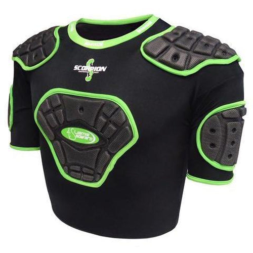 Madison Scorpion Junior Protective Vest - Black/Green Small Boys Rugby League NRL - Sports Grade