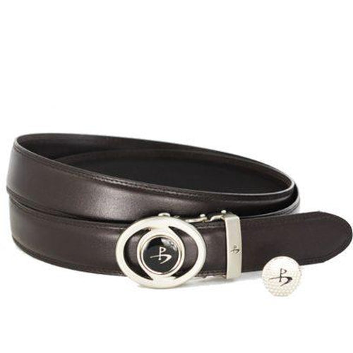 Leather Golf Belt with Magnetic Golf Ball Marker – Brown - Sports Grade