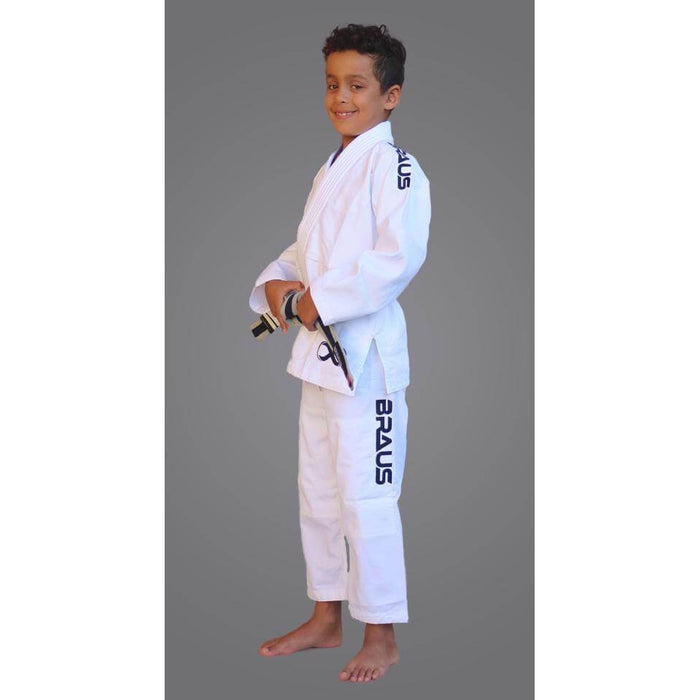 Braus Fight - White Premier Gi + Bag – Kids - Sports Grade