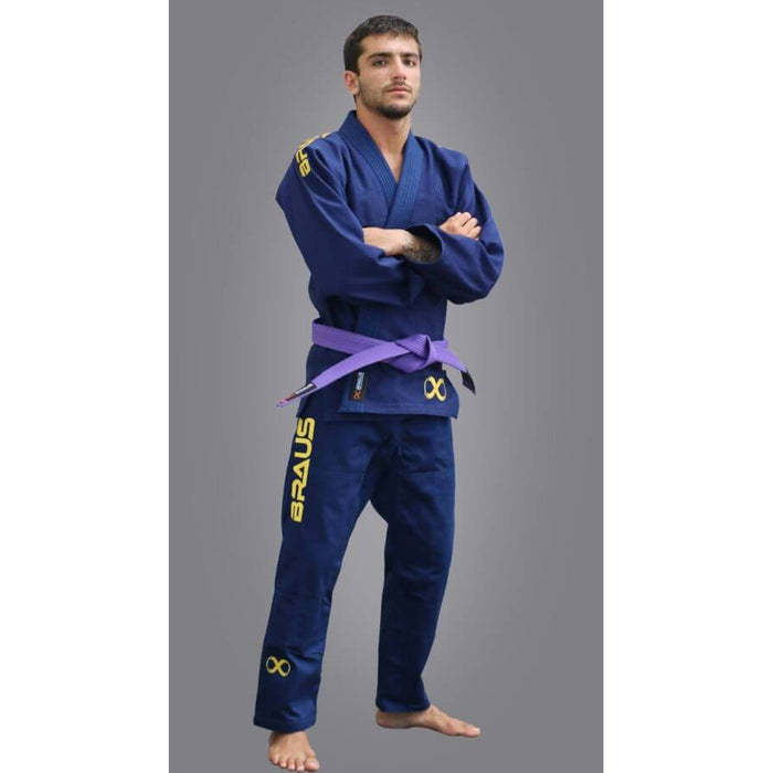 Braus Fight - Titanium – Navy/Gold Jiu Jitsu Gi - Sports Grade
