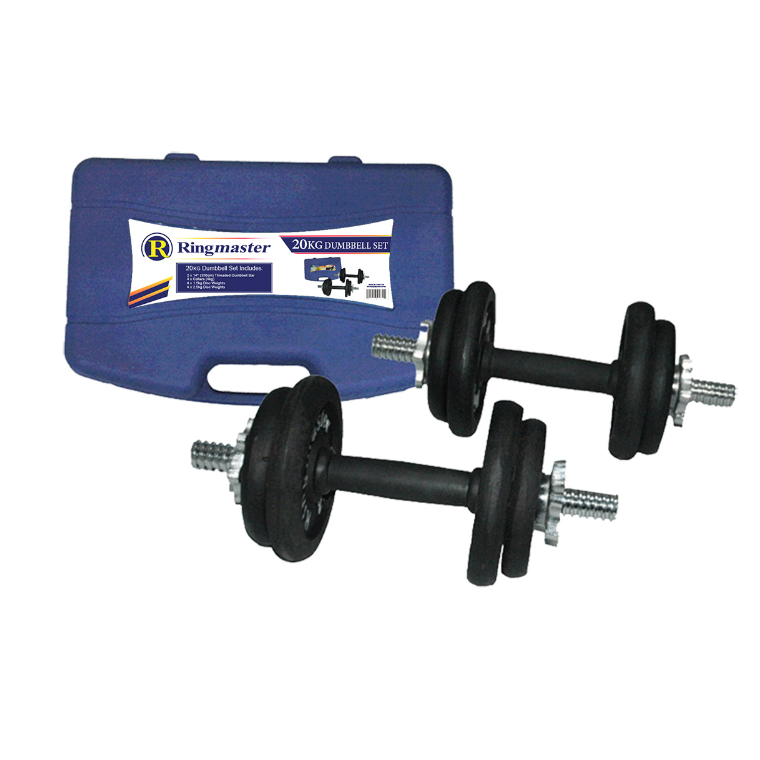 Ringmaster 20kg Dumbbell Set With Carry Case - Sports Grade