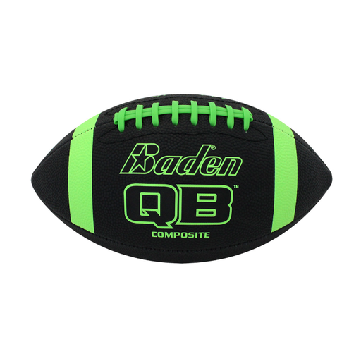 Baden Qb Composite American Football - Black/neon Green - Sports Grade