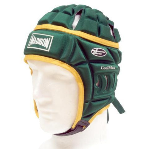 Madison Coolmax Headguard - Green/Gold Rugby League NRL - Sports Grade