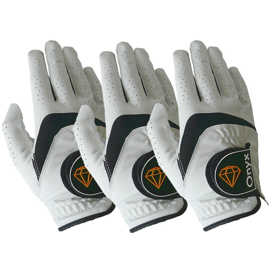 ONYX Mens Golf Gloves Right Hand White 3 Pack - Sports Grade