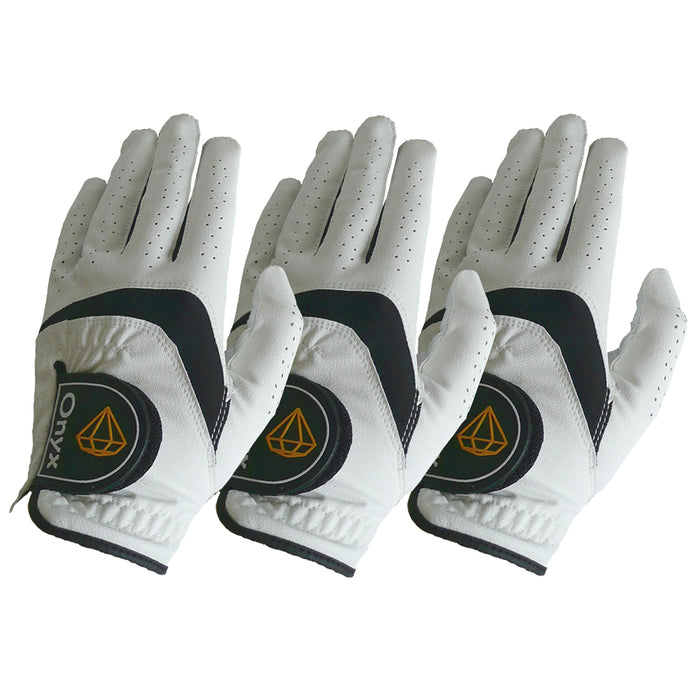 ONYX Mens Golf Gloves Left Hand White 3 Pack - Sports Grade