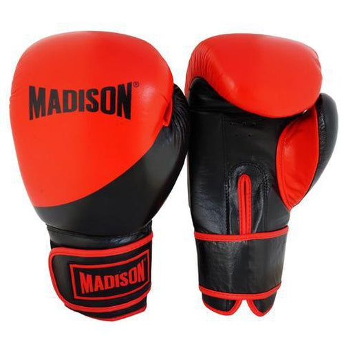 Madison Platinum Velcro Boxing Gloves - Red/Black Boxing - Sports Grade